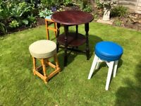 Vintage pub table and three various stools, ideal pop up patio furniture