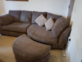 DFS 5 Seater Corduroy Corner sofa and footstool good condition
