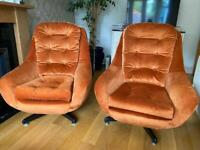 Pair Of 1970's Egg Style Swivel Chairs - Retro / Vintage / Mid Century