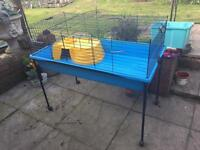 Large indoor rabbit/ guinea pig hutch with stand & accessories