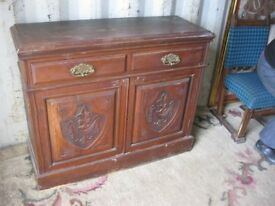 ANTIQUE ORNATE 'EDWARDIAN' SIDEBOARD. 2 DRAWERS OVER 2 CABINET DOORS. VIEWING/DELIVERY AVAILABLE