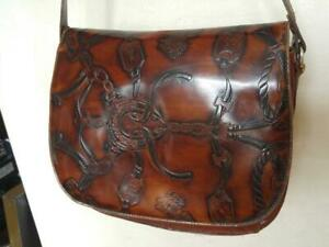 Burgundy Brown Vintage Leather Purse Bag ITALY Equestrian Horse Riding Tooled Italian Oakville