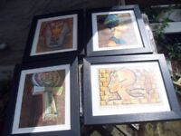 SET OF 4 EGYPTIAN PICS ON PAPYRUS PAPER PROFESSIONALLY FRAMED