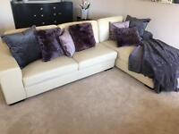 Large Cream L sofa, 2 seater and ottoman