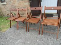 4 IKEA WOODEN SLATTED GARDEN/PATIO CHAIRS