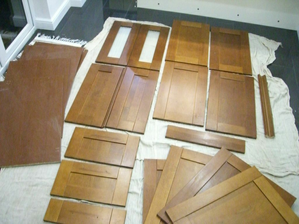 used b u0026q cherry veneer shaker kitchen units doors and panels in