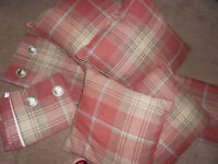 NEXT - curtains and cushions. Red check style. 4 x cushions 2 differents sizes.