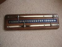 Wood and brass snooker scoreboard