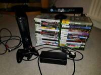 Xbox 360 250gb with Kinect and 32 games