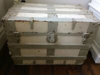 Vintage Wood and Metal Domed Banded Bound Cabin Trunk/Travel Chest