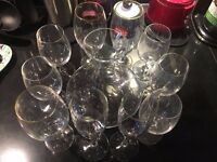 Carafe, Wine and Beer glasses