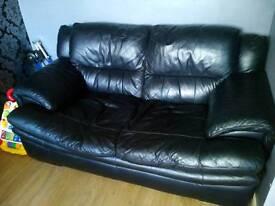 Genuine black leather 2seater sofa