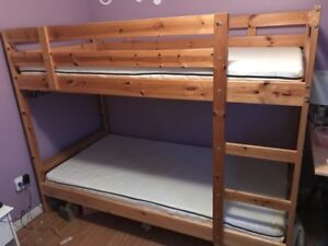 IKEA Mydal bunk bed frame with mattresses