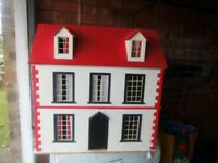 LARGE WOODEN DOLLS HOUSE AND 53 PEICES OF FURNITURE