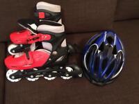 Monster inline skates and helmet