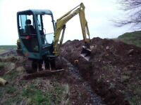 £120 a day Mini Digger hire with experienced driver. Foundations, Drains, Demolition stumps breaker