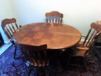 Extendable Matching Wooden Dining Table, Chairs and Cabinet in good condition