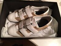 Genuine Gucci White and Brown Monogram Leather Trainers
