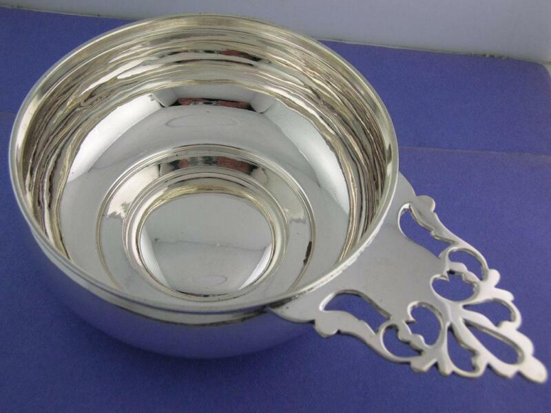 Early Coin Silver Large Porringer William Forbes NY / Ball Black & Co c1850s