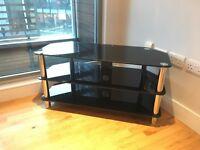 Black Glass TV and Shelf Corner Unit