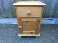 Pine bedside cabinet with drawer and cupboard - Tongue and groove drawer front