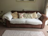 3 seater tanned leather sofa