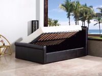 BRAND NEW STORAGE LEATHER BED BLACK & WHITE COLORS****DOUBLE & KING**