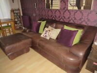 """Large 3 seater settee & Footstall - Brown Nubuck leather 7ft long x 39"""" Extremely well made"""