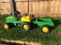 John Deere pedal tractor & trailer