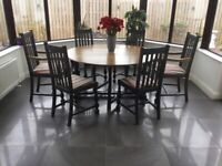 Circular dining room table and chairs