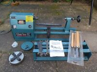 """Clarke CWL 1000 40"""" Woodturning Lathe with chuck and faceplate very good condition, little used."""