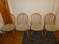 1960's Ercol Windsor Chairs x 4 with Ercol seat pads