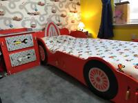 Kidsaw car bed and draws, capboard