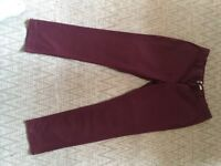 Men's Burgundy Next Trousers. Size 36R