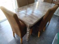 Dining table distressed effect vintage can sell with chairs please see description