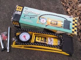 AA Car foot pump complete in box