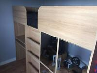 Kids bunk bed with wardrobe, drawers and desk
