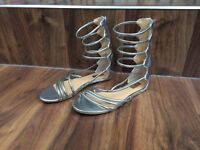Atmosphere mid calf silver gladiator sandals, size 5