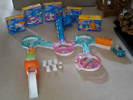 Zhu Zhu Pets large collection of rooms, tunnels, slide, ramps, lift, garage and car