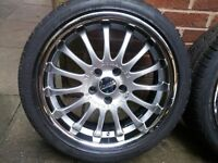 "18"" team dynamics 5x112 with virtually new tyres"
