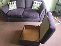 Deluxe 2 seater sofa bed and foot stool