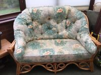 Good quality wicker conservatory furniture - has been looked after- floral sage green