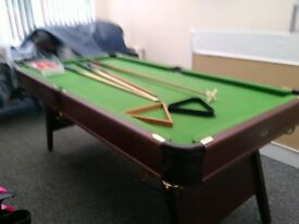 Snooker table 32x72 including snooker balls,cue and rest wooden cover optional.£60