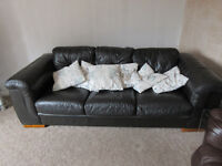 3 seater Brown leather sofa x 2