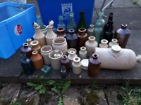 Lot of old ink pots beer bottles and jam pots £15.00 or offers welcome