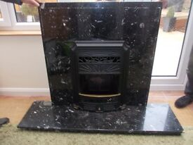 Marble hearth and back panel complete with gas fire