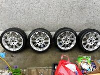 BMW 3 series (225 40 R18) MV2 wheels with tyres. Two of the tyres are Falcon ZE914