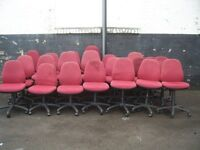 RED PADDED FABRIC GAS LIFT SWIVEL OFFICE CHAIRS 21 FOR SALE ALL GOOD CONDITION
