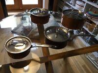 Copper pans with lids