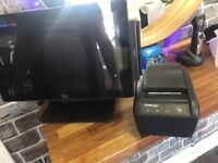 Elo touch screen monitor, cash register and printer